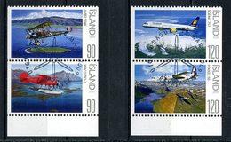 ISLANDE 2009 N° 1162/1165 Oblitérés Used Superbes C 7 € Services Aériens Avions Biplan Hydravion Boeing Fokker - 1944-... Republique