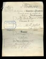 Piece Sur Le Theme De Document Manuscrit Comprenant Un Memoire De Travaux De Couverture Et Plomberie - Paul Jouclard - France