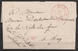 """L. Franchise Datée 17 Février 1837 De HUY Pour Bourgmestre E/V - Càd HUY /17 FEV 1837 - Man. """"Le Président Du Tribunal"""" - 1830-1849 (Belgique Indépendante)"""