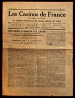 Piece Sur Le Theme De Journal - Les Casinos De France - Organe Du Syndicat Professionnel - Old Paper