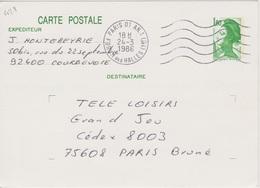 Secap 5 Lo W  PARIS 01 AN. 1 /FORUM DES HALLES (1er) Guichet Annexe 24/03/1986 - Mechanical Postmarks (Other)