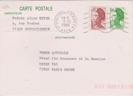 Secap 5 Lo M  67 SCHILTIGHEIM KLEBER G.A. / B. RHIN Guichet Annexe 03/12/1986 - Mechanical Postmarks (Other)