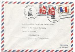 FM DRAPEAU MIXTE BLASON 5C PAIRE LETTRE AVION ARMY POSTAL SERVICE APO 29 JUN 1972 POUR GUADELOUPE - Franchise Militaire (timbres)