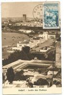 MAROC 75FR JARDIN DES OUDAYA CARTE MAXIMUM CARD MAX RABAT RP 25.8.1955 - Morocco (1956-...)