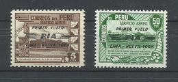 PERU  YVERT AEREO  69/70    MNH  ** - Perú