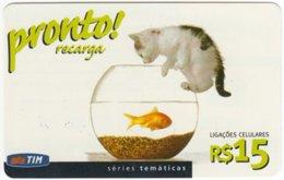 BRASIL G-410 Prepaid TIM - Animal, Cat, Fish - Used - Brésil