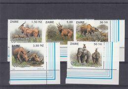 Zaïre - COB 1452 / 6 ** - MNH - éléphants - Rhinocéros - Antiloppes - Elan - Dessinateur BUZIN - Valeur 7,50 Euros - 1990-96: Neufs