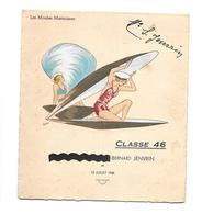 """MENU Du 13 Juillet 1946...Illustrateur LYOTT """" Les Moules Marinières""""... FEMME PIN UP...2 Scans - Menus"""