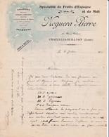 42 CHAZELLES SUR LYON FACTURE 1915 Spécialité De FRUITS D' Espagne Oranges Citrons NOGUERA Pierre X31 C/ FEURS - France