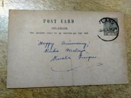 Selangor Klang Grey Postal Stationery Post Card 1955 1956 Malaya Malaysia - Malaysia (1964-...)