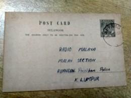 Selangor Sepang Grey Postal Stationery Post Card 1955 1956 Malaya Malaysia - Malaysia (1964-...)