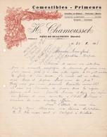73 PONT DE BEAUVOISIN COURRIER 1938  Comestibles Primeurs CHAMOUSSET  Gibiers Poissons Fruits   X31 SAvoie - France