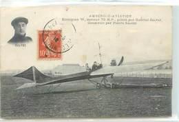 CPA 01 AIN AMBERIEU - AVIATION MONOPLAN W, MOTEUR 70 H.P., PILOTE PAR GABRIEL SALVEZ Construit Par Pierre Salvez Avion - France