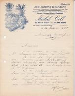 73 AIX LES BAINS Savoie  COURRIER 1936 Aux Jardins D' Espagne  Fruits Légumes Oranges Michel COLL - France