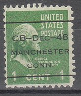 USA Precancel Vorausentwertung Preo, Locals Connecticut, Manchester L-4 ITS - Vereinigte Staaten