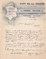 84 PERNES Les Fontaines  COURRIER 1918 Café De La Nesque  Bière Velten Liqueurs Henri PAYAN   X31 Vaucluse - France
