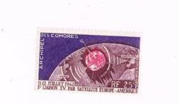 1ère Liaison Par Satellite.MNH,Neuf Sans Charnière,Falzlos.Yvert PA 7 - Comores (1950-1975)