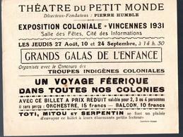 Vincennes (92 Hauts De Seine) Invitation Théâtre Du Petit Monde EXPOSITION COLONIALE 193 (PPP17414) - Programs