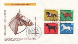 FDC  578 - 582 1969 Jugendmarken 1969 -  Pferde - BRD