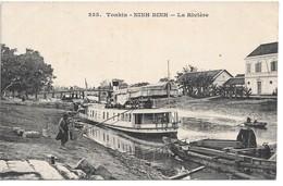 Cpa...Viet-Nam...Tonkin...NINH BINH .. La Riviere ..( Bateau A Vapeur Le Song Shang)...animée..1918..cachet Militaire.. - Viêt-Nam