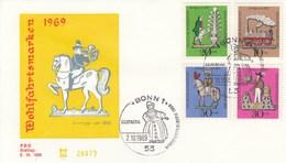FDC  604 - 607 1969 Wohlfahrtsmarken  Zinfiguren - BRD
