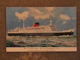 BELFAST STEAMSHIP CO ULSTER QUEEN - ART CARD - Ferries