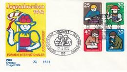 FDC  800 - 803  1974 Jugendmarken - Internatiomnale Jugendarbeit - BRD