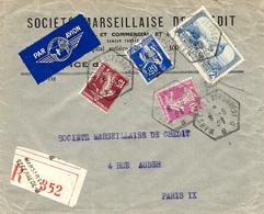 1938- Enveloppe RECC,par Avion De MARSEILLE ST FERREOL - B  - Cad R A U  -T P Perforés M C - Marcophilie (Lettres)
