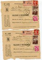 MAYENNE De BAIS 2 Devants Env. Recommandées De 1939 - Marcophilie (Lettres)