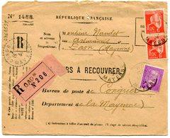 MAYENNE De DAON Devant Env. Recommandée De 1934 Arrivée Dateur B 4 De CONGRIER - Marcophilie (Lettres)