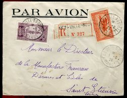 Maroc - Enveloppe Par Avion En Recommandé De Fez En 1924 Pour St Etienne - Prix Fixe - Réf F77 - Morocco (1891-1956)