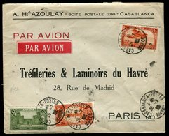 Maroc - Enveloppe Commerciale Par Avion De Casablanca Pour Paris En 1932 - Prix Fixe - Réf F80 - Lettres & Documents