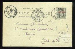 Maroc - Entier Postal Type Sage De Tanger Pour Dijon En 1901 , Complément Disparu - Prix Fixe - Réf F84 - Lettres & Documents