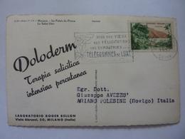 """Cartolina  Viaggiata Pubblicitaria """"MONACO Le Palais Du Prince, Le Salon Bleu LABORATORI ROGER BELLON Milano"""" 1957 - Casinò"""