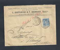 LETTRE COMMERCIALE SUR TIMBRE 1899 L SAUTEREAU & F BOURSIER FER CHARBONS COKE ARDOISES A POUGUES LES EAUX : - 1800 – 1899