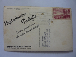 """Cartolina  Viaggiata Pubblicitaria """"MONACO Le Palais Du Prince, Le Salon Rouge LABORATORI ROGER BELLON Milano"""" 1957 - Casinò"""