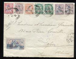 Maroc - Affranchissement Plaisant De Rabat Pour Lyon En 1922, Par Avion Via Toulouse , Vignette Guynemer - Réf F85 - Lettres & Documents
