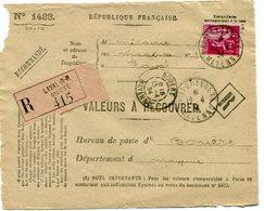 MAYENNE De LAVAL    Devant Env. Recommandée De 1934 Arrivée Dateur A 3 De BOUERE - Marcophilie (Lettres)