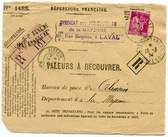 MAYENNE De LAVAL    Devant Env. Recommandée De 1934 Arrivée Dateur A 3 DeALEXAIN - Marcophilie (Lettres)