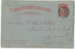 8Eb-168: UNION POSTALE UNIVERSELLE CHILI 3 Cent. Via Panama > Anglaterra 1889 - Chili