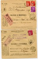 MAYENNE De LAVAL   2 Devant Env. Recommandée De 1934 Arrivée Dateur A 3 De MARTIGNE - Marcophilie (Lettres)