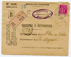 MAYENNE De LAVAL    Devant Env. Recommandée De 1934 Arrivée Dateur B 3 De SAINT MARS SUR LA FUTAIE - Marcophilie (Lettres)