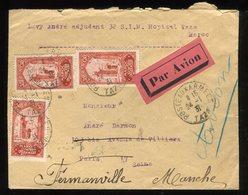 Maroc - Enveloppe En FM De Taza Pour Paris Et Redirigé Vers Fermanville En 1931, Par Avion - Prix Fixe - Réf F89 - Lettres & Documents