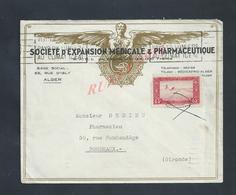 ALGÉRIE LETTRE COMMERCIALE ILLUSTRÉE  SUR TIMBRE SOCIÉTÉ D EXPANSION MEDICALE & PHARMACEUTIQUE ALGER RUE D ISLY : - Algérie (1962-...)