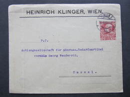 GANZSACHE Wien - Kassel Privatganzsache Heinrich Klinger 1908///  D*36730 - 1850-1918 Empire