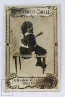 1900`s Trading Card / Chromo - La Panacea Corell - Medicine Promotional - Child Portrayal - Girl Laughing On Stool - Cromos