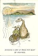 "Loch Ness (Scozia) Humor Post Card, ""Enjoying A Spot Of Peace And Quiet By Loch Ness"" - Scozia"