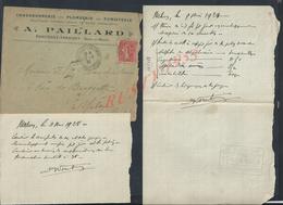 LETTRE COMMERCIALE SUR TIMBRE 1928 A PAILLARD CHAUDRONNERIE FUMISTERIE ECT A FONTENAY TRÉSIGNY : - France