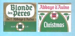 BROUWERIJ DE SMEDT - OPWIJK - ABBAYE D'AULNE  - CHRISTMAS  - BLONDE DES PERES SUR LIE  - 2 BIERETIKETTEN  (BE 095) - Beer