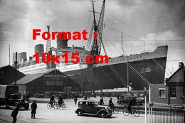 Reproduction D'une Photographie Ancienne Du Paquebot Queen Mary Sur Les Docks Cunard White Star à Southampton - Reproductions